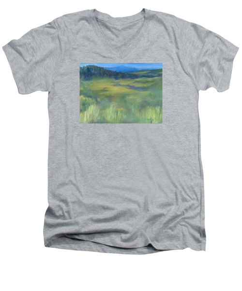 Rural Valley Landscape Colorful Original Painting Washington State Water Mountains K. Joann Russell Men's V-Neck T-Shirt by Elizabeth Sawyer