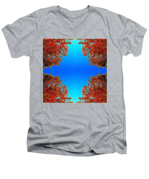 Men's V-Neck T-Shirt featuring the photograph Rust And Sky 1 - Abstract Art Photo by Marianne Dow