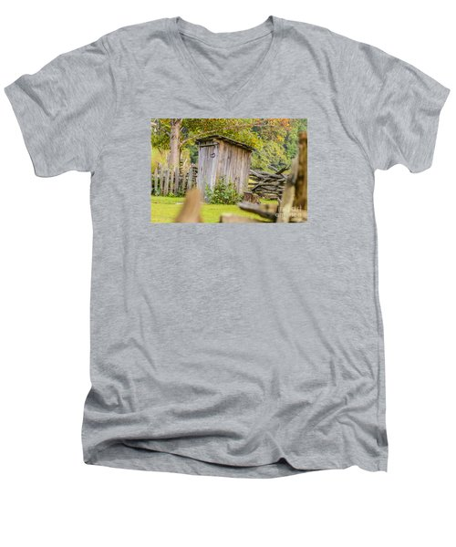 Rustic Fence And Outhouse Men's V-Neck T-Shirt