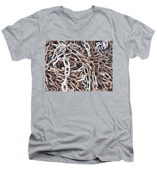 Men's V-Neck T-Shirt featuring the photograph Rusty Links by Cheryl Hoyle