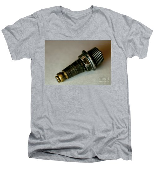 Men's V-Neck T-Shirt featuring the photograph Rusty Old Spark Plugs by Wilma  Birdwell