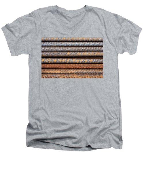 Rusty Rebar Rods Metallic Pattern Men's V-Neck T-Shirt