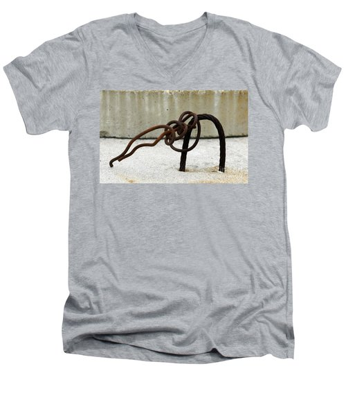 Men's V-Neck T-Shirt featuring the photograph Rusty Twisted Metal I by Lilliana Mendez