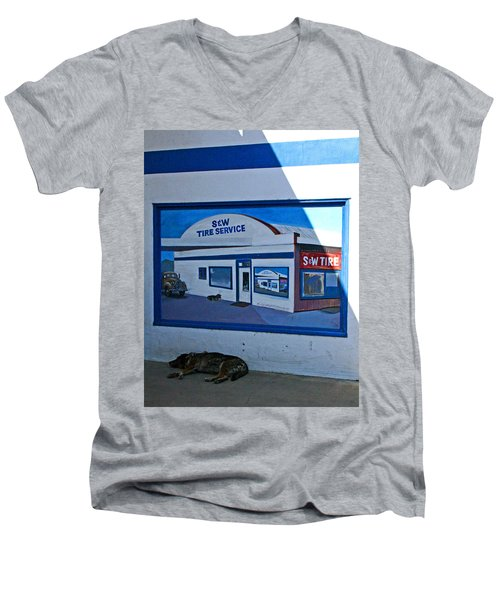 S And W Tire Service Mural Men's V-Neck T-Shirt