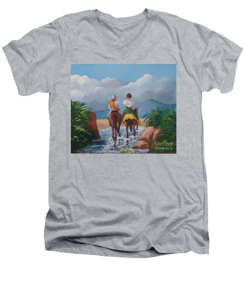 Sabanero And Wife Crossing A River Men's V-Neck T-Shirt