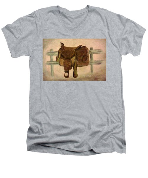 Saddle Up Men's V-Neck T-Shirt by Christy Saunders Church