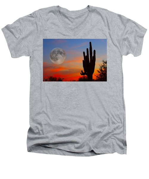 Saguaro Full Moon Sunset Men's V-Neck T-Shirt