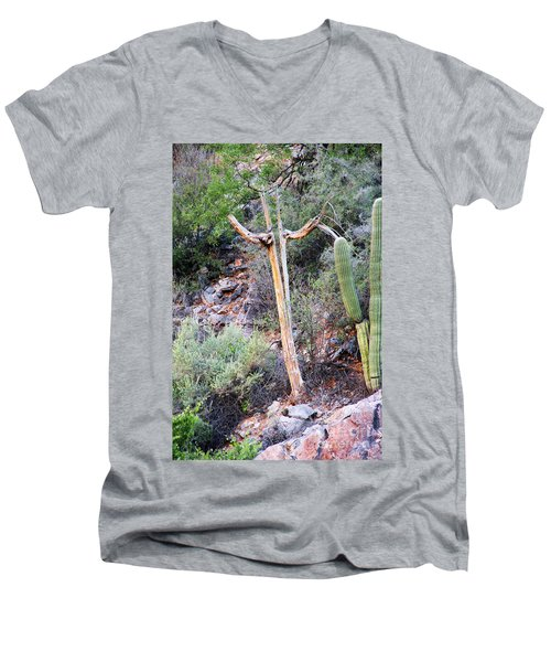 Saguaro Skeleton Men's V-Neck T-Shirt