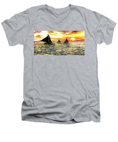 Men's V-Neck T-Shirt featuring the painting Sail Away With Me by Shana Rowe Jackson