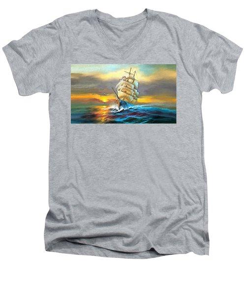 Sail Boat Full Sails Men's V-Neck T-Shirt