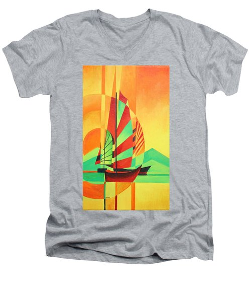 Men's V-Neck T-Shirt featuring the painting Sail To Shore by Tracey Harrington-Simpson