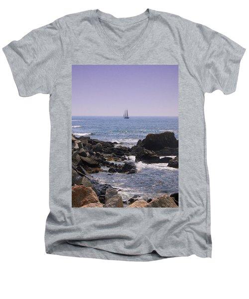 Sailboat - Maine Men's V-Neck T-Shirt by Photographic Arts And Design Studio