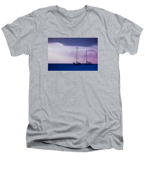 Men's V-Neck T-Shirt featuring the photograph Sailboats At Sunset by Don Schwartz