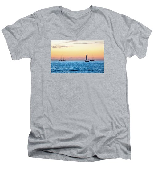 Sailboats At Sunset Off Key West Florida Men's V-Neck T-Shirt by Photographic Arts And Design Studio