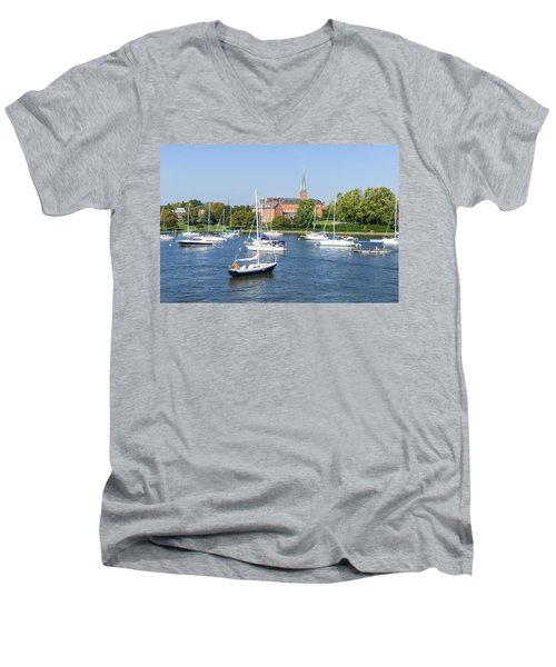 Men's V-Neck T-Shirt featuring the photograph Sailboats By Charles Carroll House by Charles Kraus