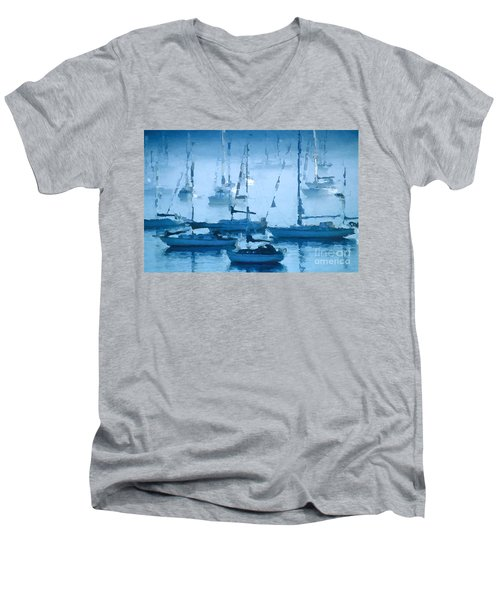 Sailboats In The Fog II Men's V-Neck T-Shirt by David Perry Lawrence
