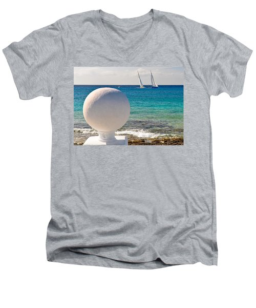Men's V-Neck T-Shirt featuring the photograph Sailboats Racing In Cozumel by Mitchell R Grosky