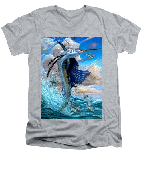 Sailfish And Flying Fish Men's V-Neck T-Shirt