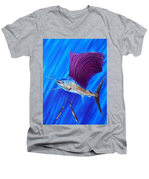Sailfish Men's V-Neck T-Shirt by Steve Ozment