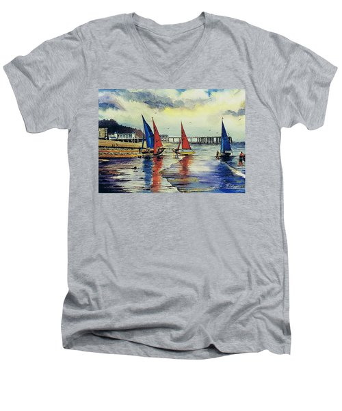 Sailing At Penarth Men's V-Neck T-Shirt