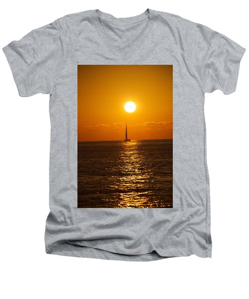 Sailing At Sunset Men's V-Neck T-Shirt