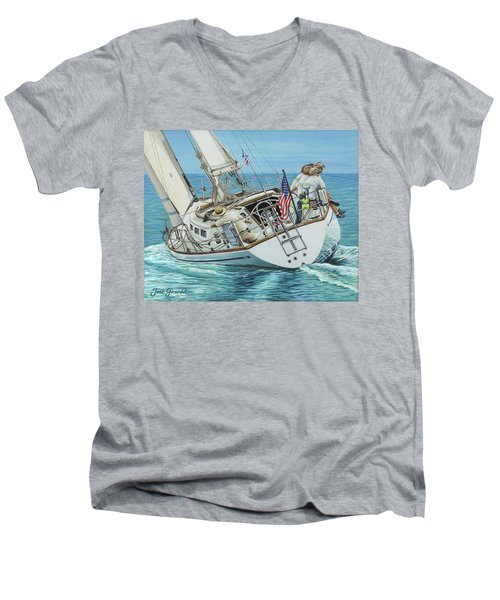 Sailing Away Men's V-Neck T-Shirt by Jane Girardot