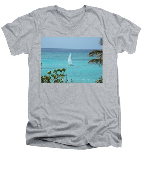 Men's V-Neck T-Shirt featuring the photograph Sailing by David S Reynolds