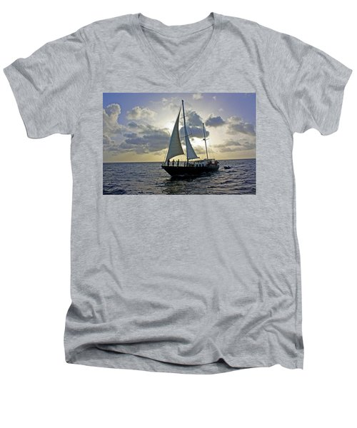 Men's V-Neck T-Shirt featuring the photograph Sailing In Aruba by Suzanne Stout