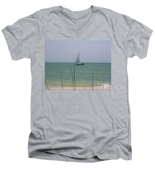 Men's V-Neck T-Shirt featuring the photograph Sailing In The Gulf by D Hackett