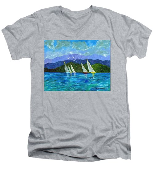Men's V-Neck T-Shirt featuring the painting Sailing by Laura Forde