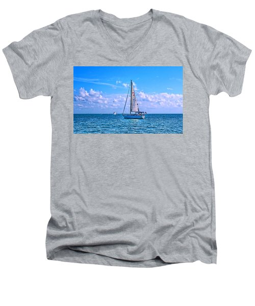 Sailing Off Of Key Largo Men's V-Neck T-Shirt