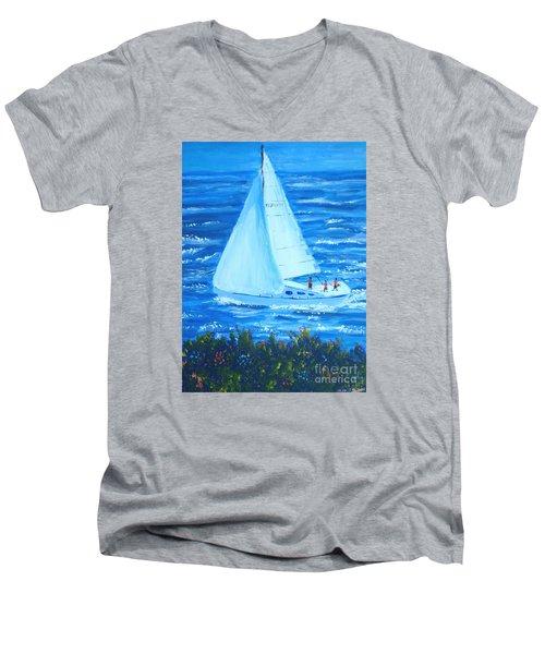 Sailing Off The Coast Men's V-Neck T-Shirt