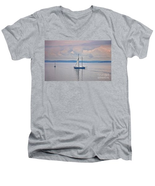Men's V-Neck T-Shirt featuring the photograph Sailing On A Misty Morning Art Prints by Valerie Garner
