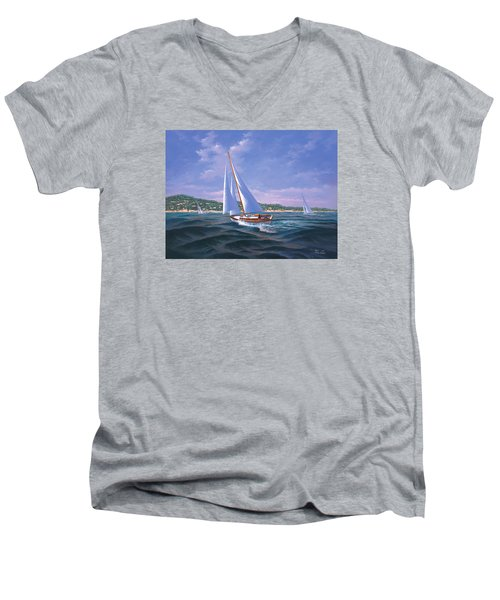 Sailing On Monterey Bay Men's V-Neck T-Shirt
