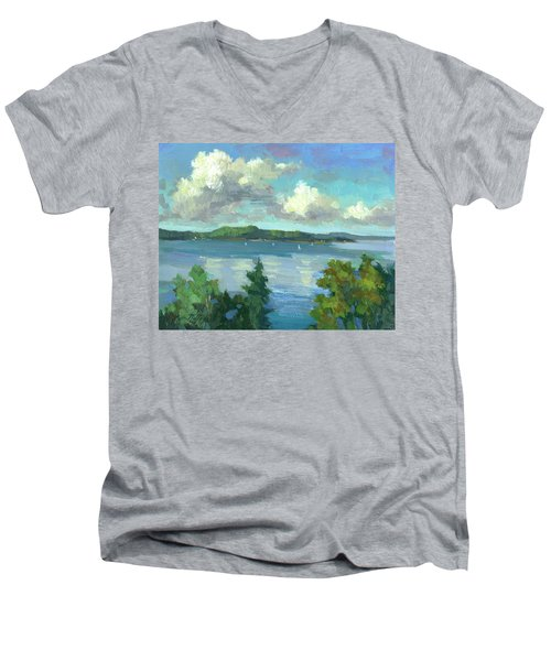 Sailing On Puget Sound Men's V-Neck T-Shirt by Diane McClary