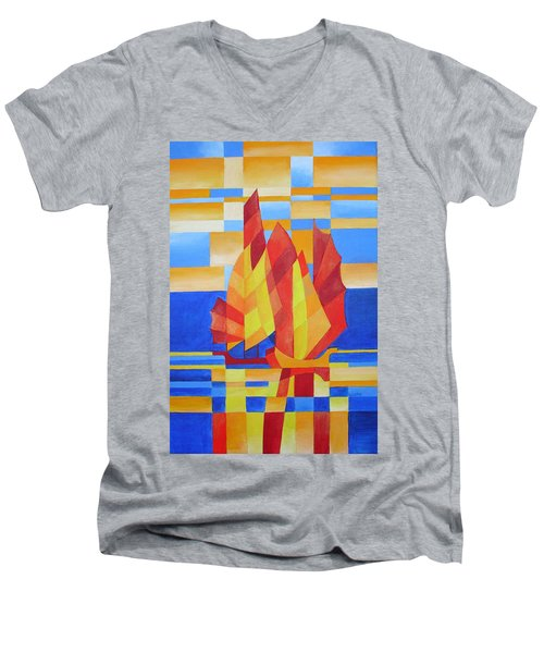 Men's V-Neck T-Shirt featuring the painting Sailing On The Seven Seas So Blue by Tracey Harrington-Simpson