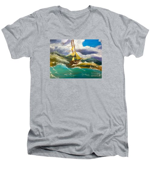 Sailing Ship In A Storm Men's V-Neck T-Shirt by Pamela  Meredith