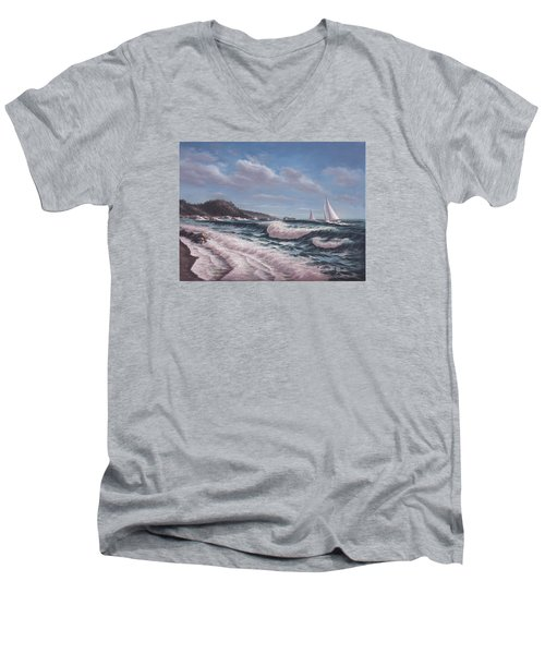 Sailing Toward Point Lobos Men's V-Neck T-Shirt
