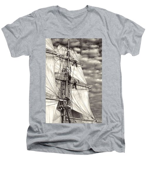 Sailors In Rigging Of Tall Ship Men's V-Neck T-Shirt