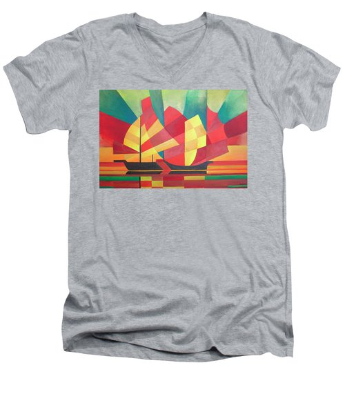 Men's V-Neck T-Shirt featuring the painting Sails And Ocean Skies by Tracey Harrington-Simpson