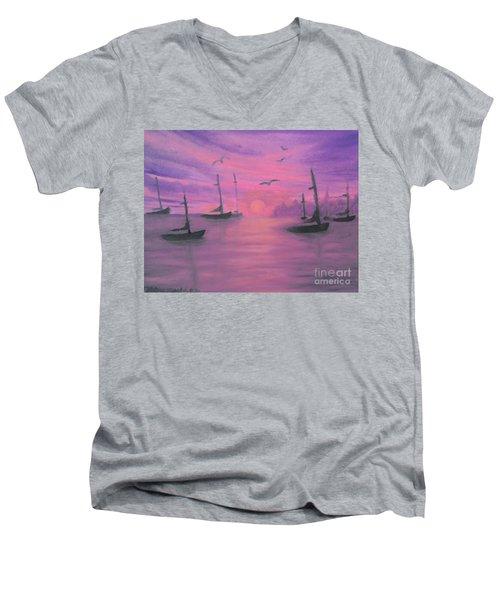 Sails At Dusk Men's V-Neck T-Shirt by Holly Martinson