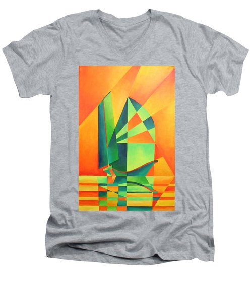 Men's V-Neck T-Shirt featuring the painting Sails At Sunrise by Tracey Harrington-Simpson