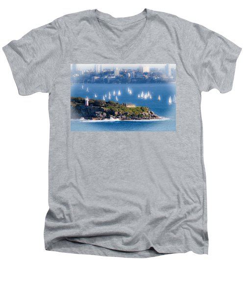 Men's V-Neck T-Shirt featuring the photograph Sails Out To Play by Miroslava Jurcik