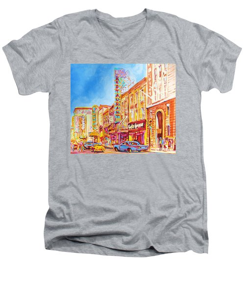 Men's V-Neck T-Shirt featuring the painting Saint Catherine Street Montreal by Carole Spandau