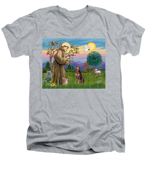 Saint Francis Blesses A Red Doberman Men's V-Neck T-Shirt