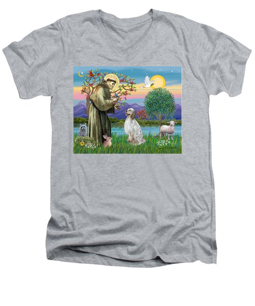 Saint Francis Blesses An English Setter Men's V-Neck T-Shirt