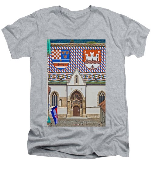 Saint Mark Church Facade Vertical View Men's V-Neck T-Shirt