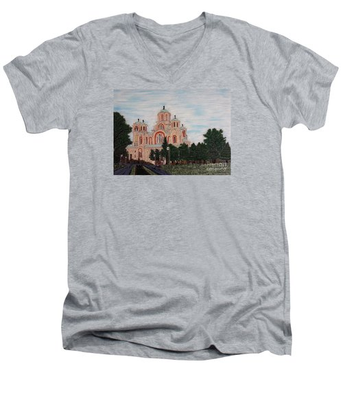 Men's V-Neck T-Shirt featuring the painting Saint Marko Church  Belgrade  Serbia  by Jasna Gopic
