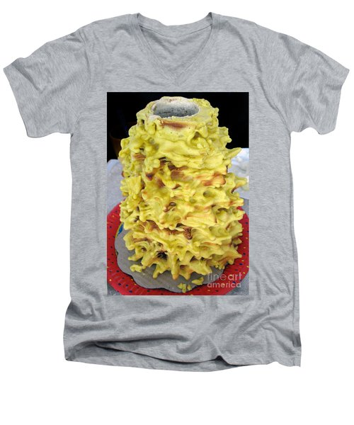 Sakotis. Lithuanian Tree Cake. Men's V-Neck T-Shirt by Ausra Huntington nee Paulauskaite