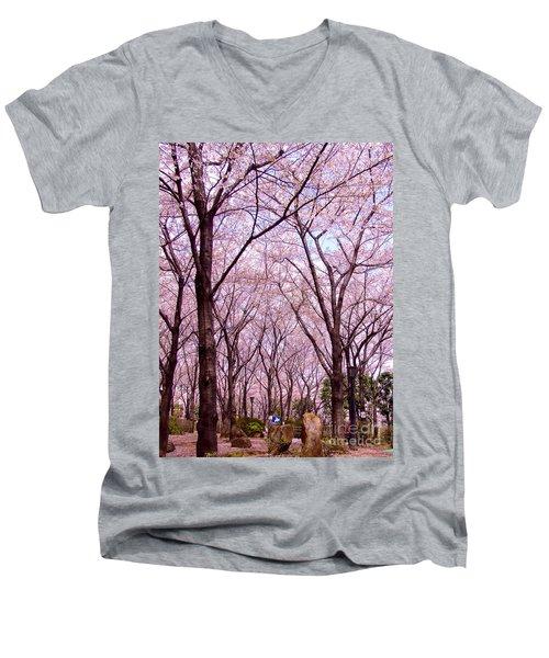 Men's V-Neck T-Shirt featuring the photograph Sakura Tree by Andrea Anderegg